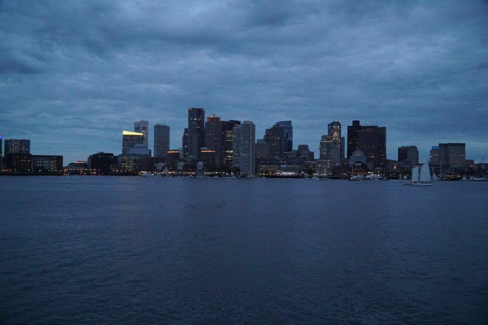 boston city skyline shot at night